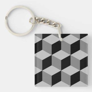 Cube Large Pattern Black & Greys Double-Sided Square Acrylic Key Ring
