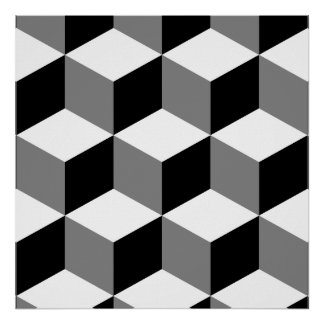 Cube Large Pattern Black White & Grey Poster