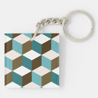 Cube Lg Ptn Teals Brown Cream & White Double-Sided Square Acrylic Key Ring