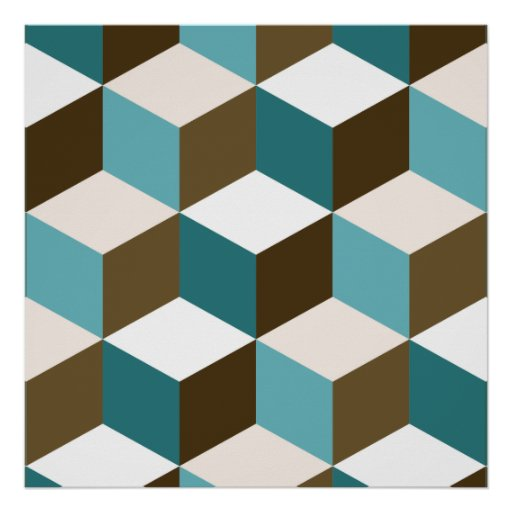 Cube Lg Ptn Teals Brown Cream & White