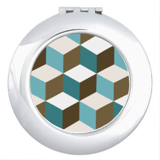 Cube Lg Ptn Teals Brown Cream & White Vanity Mirrors