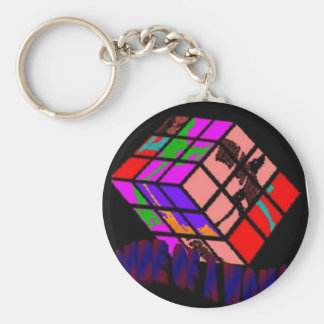 CUBE OF woman Basic Round Button Key Ring