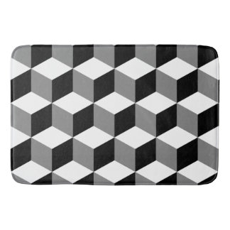 Cube Pattern Black White & Grey Bath Mat