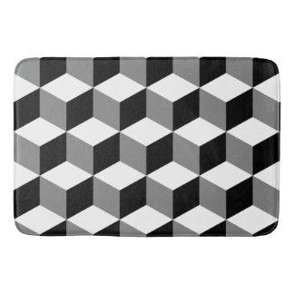 Cube Pattern Black White & Grey Bath Mats