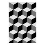 Cube Pattern Black White & Grey Poster