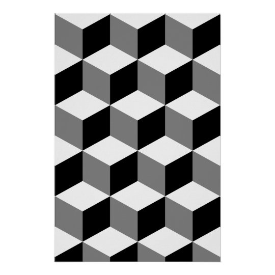 Cube Pattern Black White & Grey Poster
