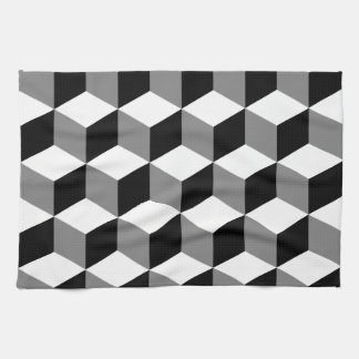 Cube Pattern Black White & Grey Tea Towel
