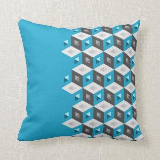 Cube Pattern Illusion Duo-Tone Aqua Coal Pillow Throw Cushions