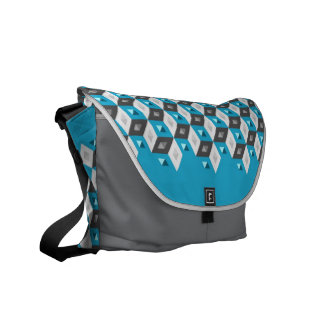 Cube Pattern Optical Illusion Aqua Coal bag Messenger Bag