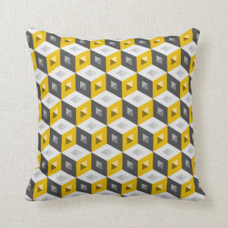 Cube Pattern Optical Illusion Yellow Grey Pillow Cushion