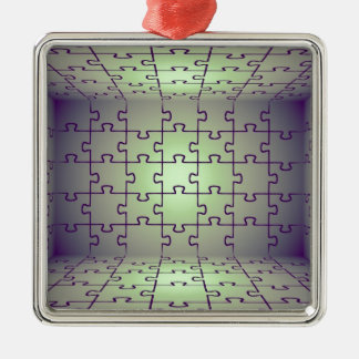 Cube perspective made of puzzles christmas ornament