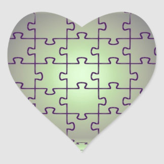 Cube perspective made of puzzles heart sticker