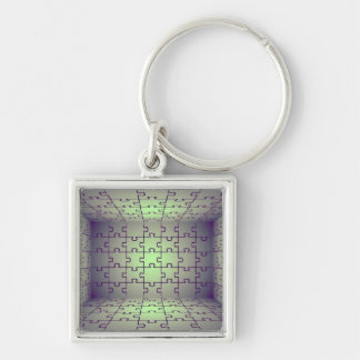 Cube perspective made of puzzles Silver-Colored square key ring