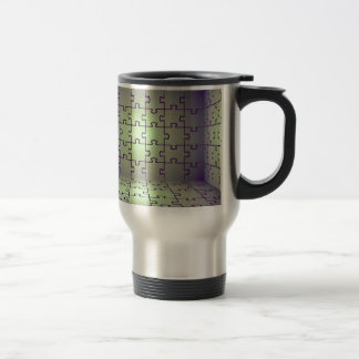 Cube perspective made of puzzles travel mug