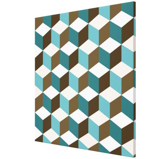 Cube Ptn Teals Brown Cream & White Canvas