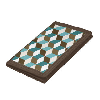 Cube Ptn Teals Brown Cream & White Trifold Wallets