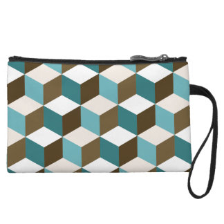 Cube Ptn Teals Brown Cream & White Wristlet Clutches