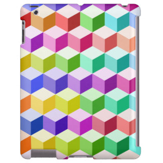 Cube Repeat Pattern Multicolored iPad Case