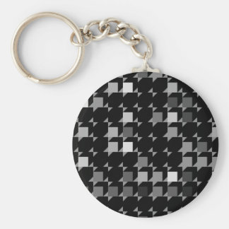 cube repeating pattern (black04) basic round button key ring