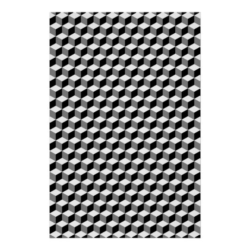 Cube Small Repeat Pattern Black White & Grey