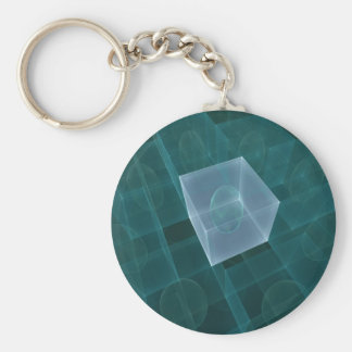 Cubed - Blue Basic Round Button Key Ring