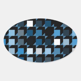 cubes-blue-04 oval sticker