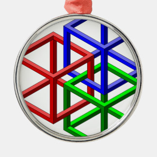 Cubes Impossible Geometry Optical Illusion Christmas Ornament