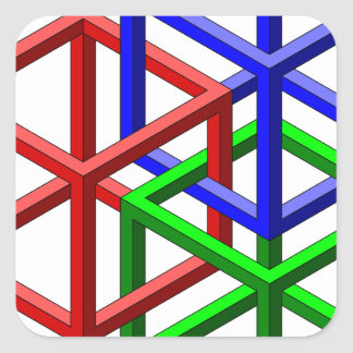 Cubes Impossible Geometry Optical Illusion Square Sticker