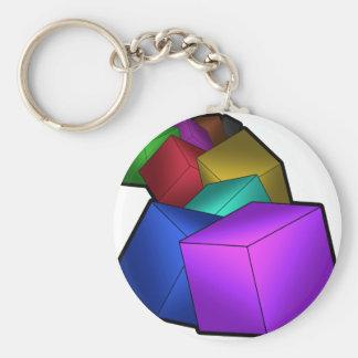 Cubes Basic Round Button Key Ring