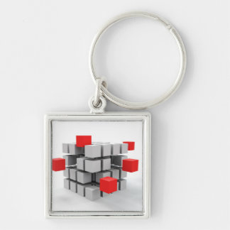 Cubes Silver-Colored Square Key Ring