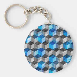 Cubes of Gray And Blue Basic Round Button Key Ring