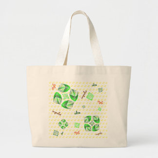 Cubes spiral with dollars and text large tote bag