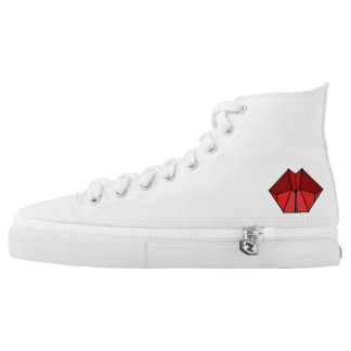 Cubic Lips Red Shades High Tops Shoes