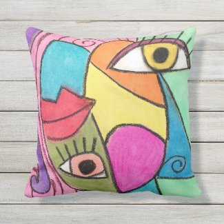 Cubism Face Bright Colour Block Abstract Eyes Lips Cushion