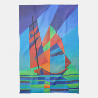 Cubist Abstract Junk Boat Against Deep Blue Sky Tea Towel