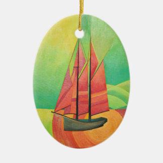 Cubist Abstract Sailing Boat Ceramic Oval Decoration