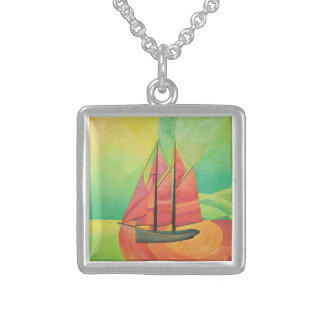 Cubist Abstract Sailing Boat Square Pendant Necklace