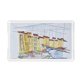 Cubist Abstract | Saint-Tropez, French Riviera Acrylic Tray