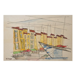 Cubist Abstract | Saint-Tropez, French Riviera Wood Wall Decor
