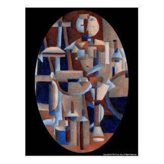 Cubist Figure Rendering Postcard