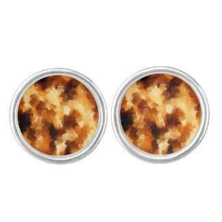Cubist Fire Abstract Pattern Cuff Links