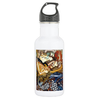 Cubist painting of guitar player in slippers 532 ml water bottle