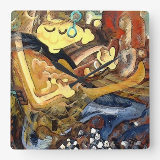 Cubist painting of guitar player in slippers square wall clock