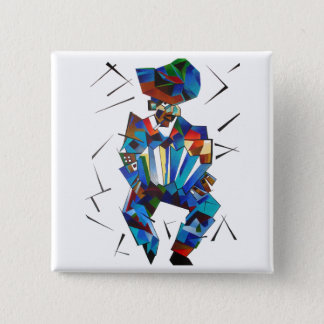 Cubist Portrait of Accordian Player Isolated on Wh 15 Cm Square Badge