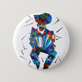 Cubist Portrait of Accordian Player Isolated on Wh 6 Cm Round Badge