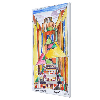 Cubist Style Watercolor Plaka | Athens, Greece Canvas Print