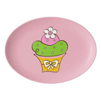 Cucake Illustration Porcelain Serving Platter
