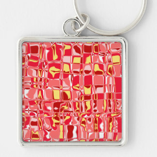 Cuckoo Abstract Silver-Colored Square Key Ring