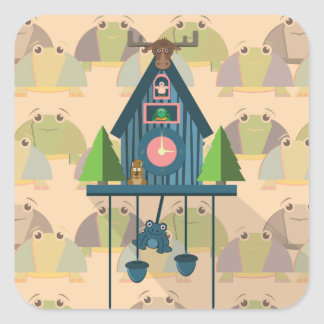 Cuckoo Clock with Turtle Wall paper Square Sticker