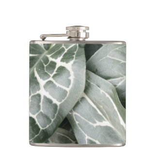 Cuckoo Pint Leaves In Black And White Hip Flasks